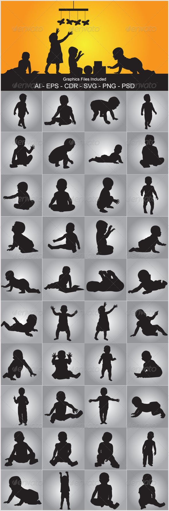 Baby Silhouettes — Photoshop PSD #walk #play • Available here → https://graphicriver.net/item/baby-silhouettes/5515365?ref=pxcr