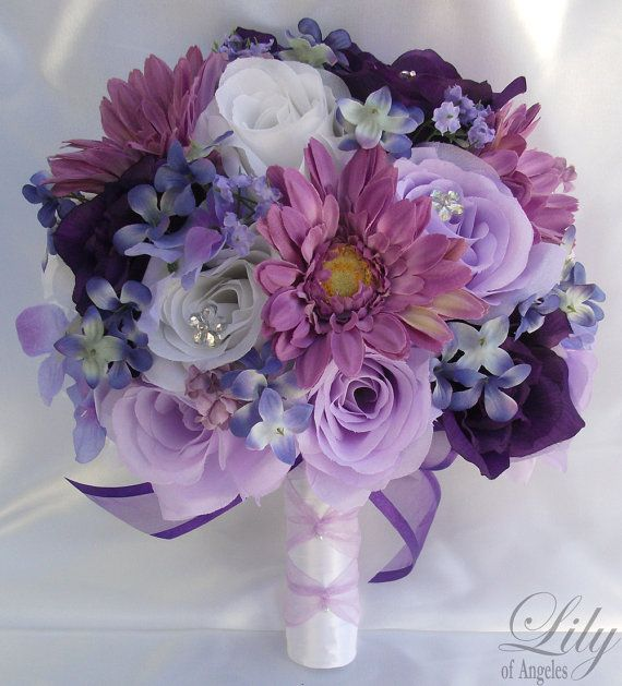 Silk Flower Wedding Bouquet Arrangements by LilyOfAngeles on Etsy