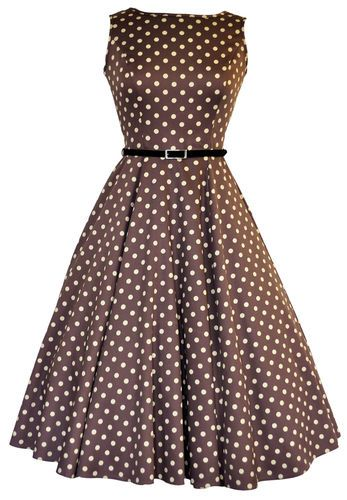 LADY VINTAGE AUDREY HEPBURN DRESS Mocha Polka Dot Swing ROCKABILLY* SIZE 8-28 | eBay