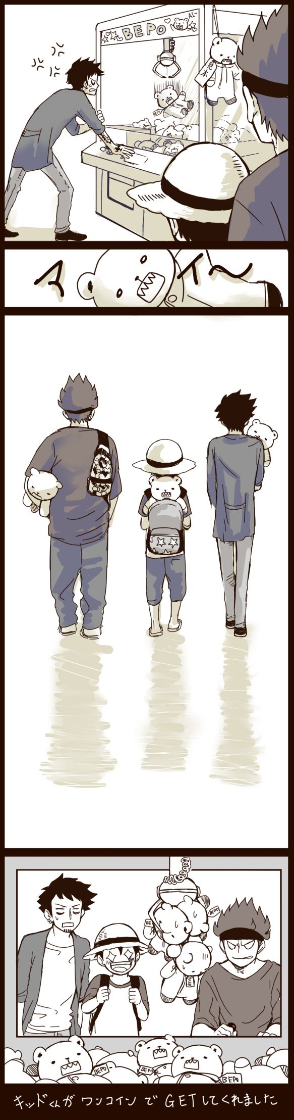 Law, Kid and Luffy. This is just too cute.