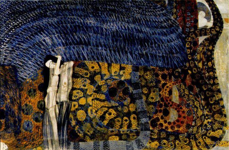 Gustav Klimt, Beethoven Frieze, Vienna Secession, 1902   Readable