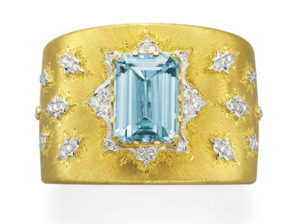 AN AQUAMARINE, DIAMOND AND GOLD BRACELET, BY BUCCELLATI .Signed M. Buccellati for Mario Buccellati, Italy