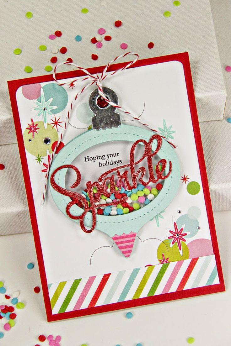 Scrapbook ideas christmas card - Card By Erin Lincoln Papertrey Ink Die Card Basics Shaker Shapes Ornament Sparkle Shine Words Paper Clear Cardstock Stamps Sparkle Shine