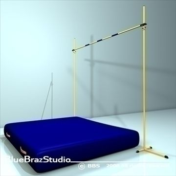 high jump 3D Model-   The high jump is an athletics (track and field) event in which competitors must jump over a horizontal bar placed at measured heights without the aid of any devices. It has been contested since the Olympic Games of ancient Greece.polygonalpolygons 4993vertices 4658 - #3D_model #Other Sports