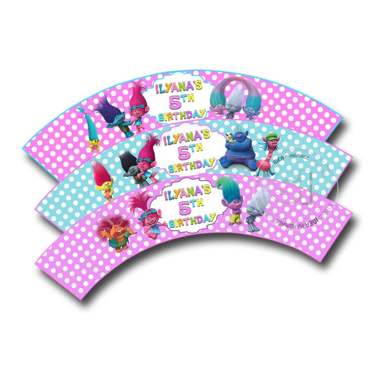 Trolls Customized Printable Cupcake Wrappers-Personalized Printable Trolls Liners- YOU PRINT-Digital file by StudioIdea on Etsy