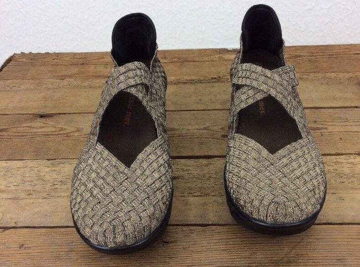 Women's BM BERNIE MEV Drake Bronze Woven Mary Jane Cross Wedge Shoes UK 39 US 8 #BernieMev #MaryJanes