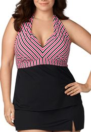 coral striped plus size halter tankini - maurices.com