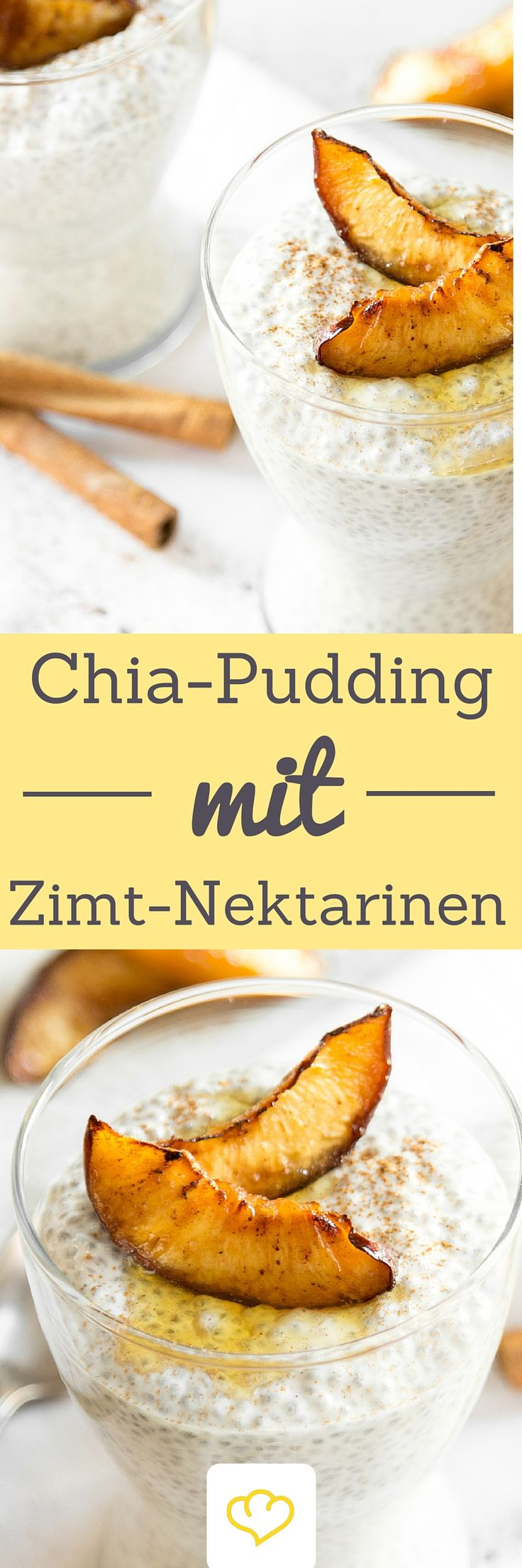 Chia-Pudding mit Mandelmilch und griechischem Joghurt? Gute Idee. Dazu geröstete Nektarinen? Noch besser! Sie werden mit Zimt und Ahornsirup verfeinert, der in der Pfanne karamellisiert. Zum Reinsetzen gut!