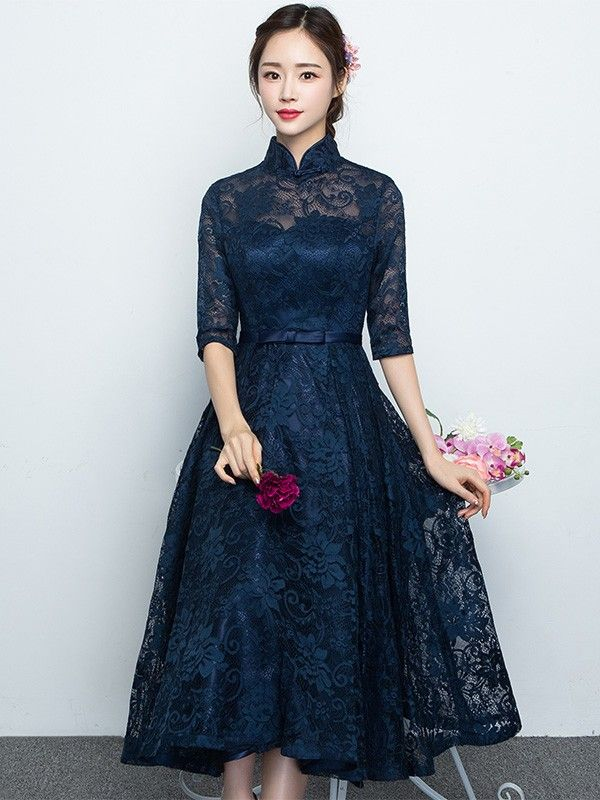 Blue Lace Qipao / Cheongsam Dress with Full Skirt