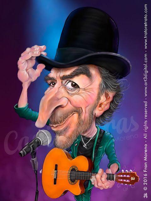 Caricatura del cantautor Joaquin Sabina - Arte Digital por Fran Moreno