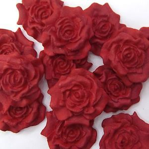 12-Red-Pearl-Sugar-Roses-edible-ruby-wedding-xmas-cake-decorations-4-OPTIONS
