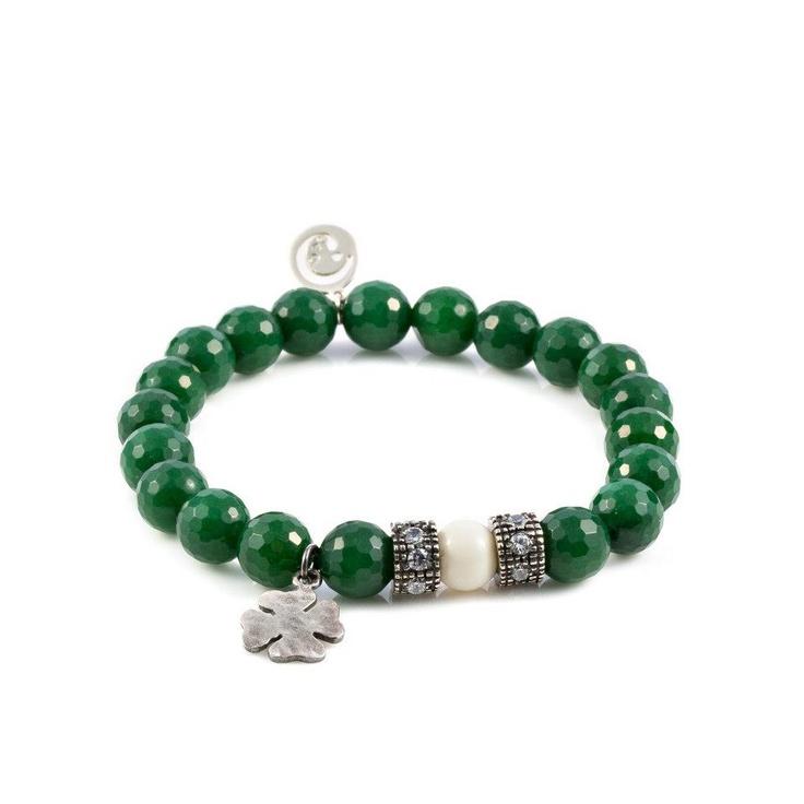 Sorte   Ágata verde, osso, cristal e prata de lei