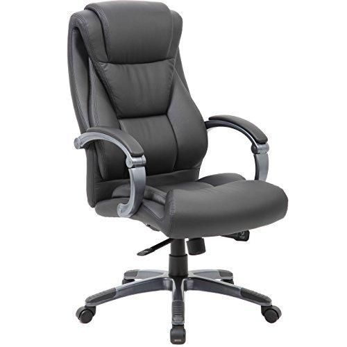 Large Executive Office Chair - Sleek & Neutral Design Dual Wheel Casters Leather Plus Fabric Padded Armrests With Adjustable Back - By Executive Style