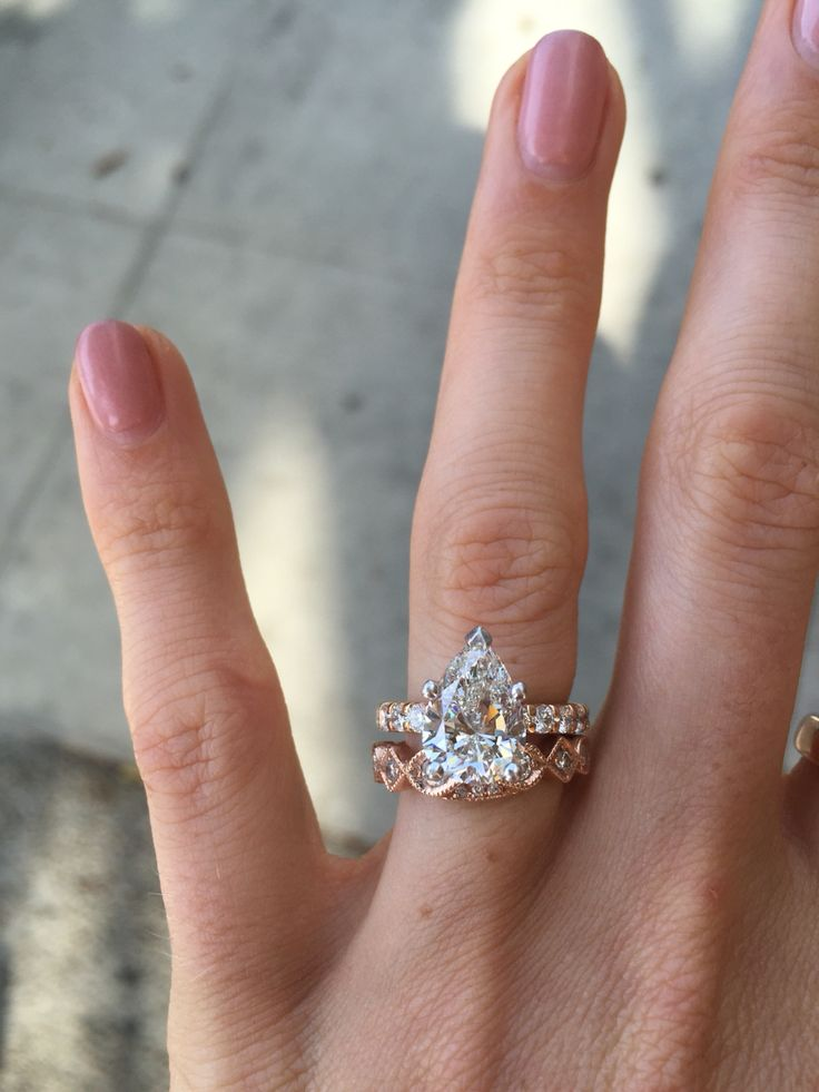 Love How My Custom Vintage Inspired Wedding Band Came Out With Rose Gold Pear Shape Engagement Ring