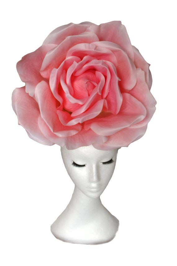 Huge Rose Hat Pink Red Wedding Hat Giant Rose Hatinator; Pink Rose Hat; Wedding Hat; Couture Hat;  Luxury Hat; Occasion Hat Headpiece