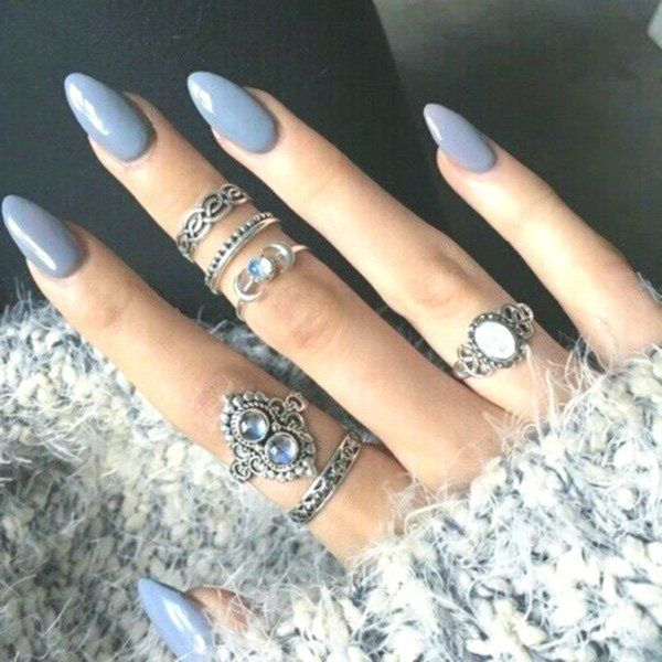 Cute Acrylic Nails Oval The Delicate Appearance Of Your Nails Is Ideal For Your Wedding Gown The Delicat Oval Acrylic Nails Grey Matte Nails Cute Spring Nails