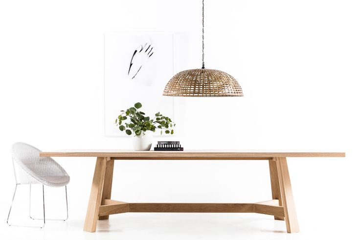 The Oslo Splayed leg White American Oak Dining table Scandinavian Design
