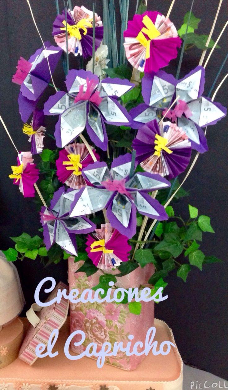 Creaciones el Capricho: Ramo de flores de billetes en en lata con estampado floral.