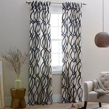 Cotton Canvas Scribble Lattice Curtain Set Of 2 Midnight