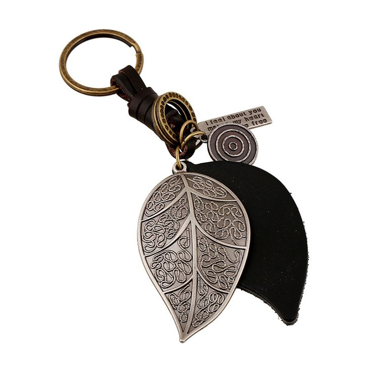 Leaves Keychian - Punk Art Genuine Leather Cut out men women key Chain bag pendant Alloy leaf Car key chain ring Jewelry 17356 #Affiliate