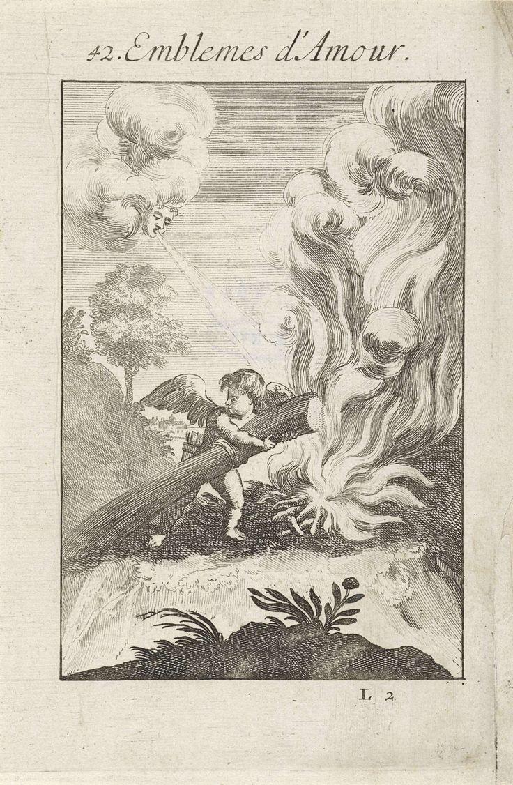 Jan van Vianen | Amor en de wind laten een vuur oplaaien, Jan van Vianen, 1686 | Amor heeft een bos stro in zijn armen om die op een vuur te werpen. In de lucht blaast de wind het vuur aan. Net zoals de wind een vuur doet oplaaien, zo verblijdt een minnaar zich om de gunst van een geliefde. Tweeënveertigste embleem uit Emblemata Amatoria.