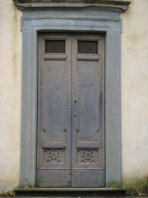 old Distressed Door Blue Grey Wood by dawnrcarlyle