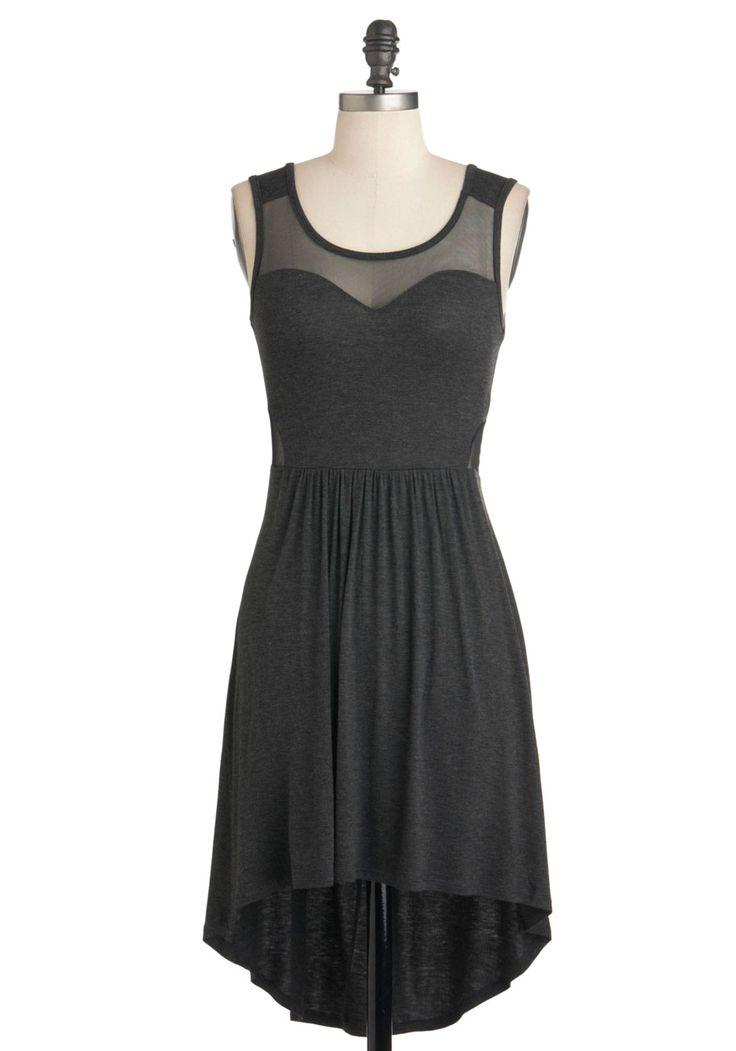 Bituminous Cool Dress - Grey, Solid, Cutout, Party, Girls Night Out, A-line, Sleeveless, Jersey, Short