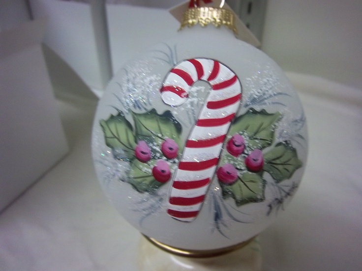 Vatican Christmas Ornaments Part - 47: Ornament, Candy Cane With Holly And Berries, Hand-painted On Frosted Glass  Bulb, Christmas Keepsake