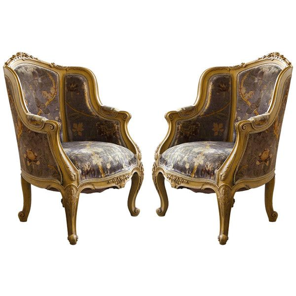 Pair Louis XIV Style French Antique Bergere Arm Chairs   liked on Polyvore  featuring home. 12 best Classicism furniture images on Pinterest   Antiques  Books