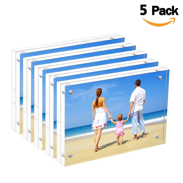 "Bulk Acrylic Picture Frames 4x6"", Clear Double Sided Block Set Retail Gift Box Package, Desktop Frameless Acrylic Photo Frame (5 Pack)"