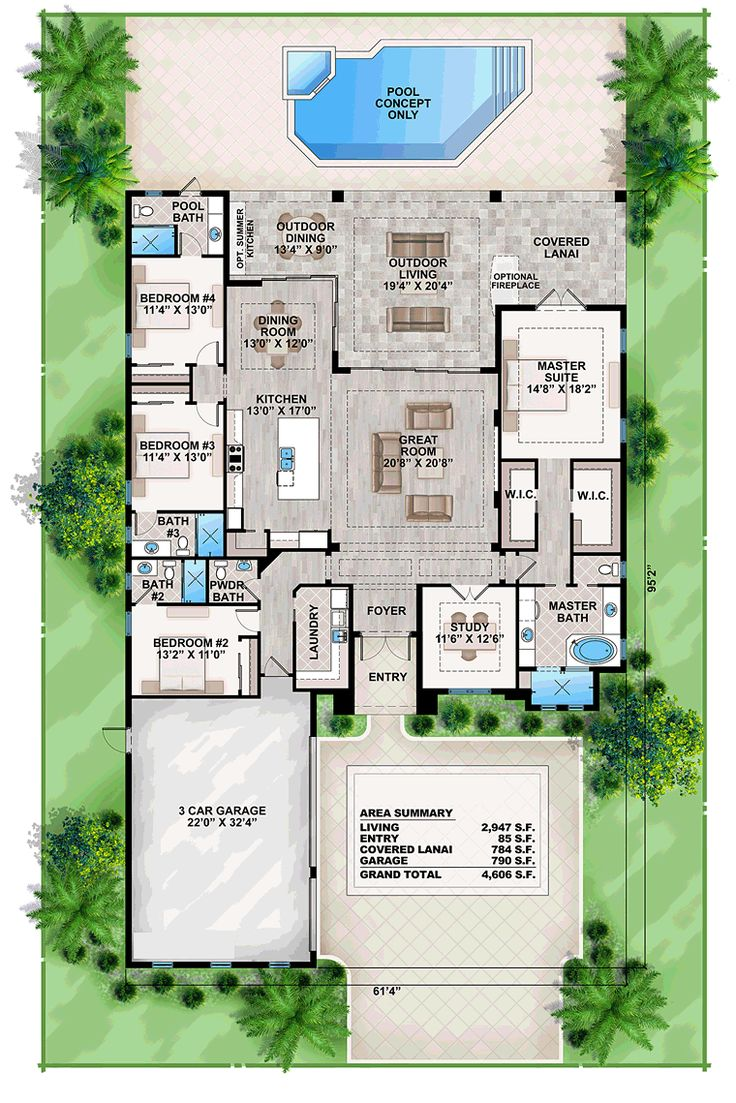 House design mediterranean style - Coastal Contemporary Florida Mediterranean House Plan 52911 Level One