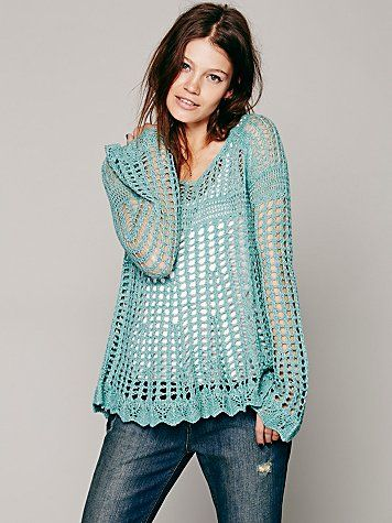 Free People Annabelle Crochet Pullover
