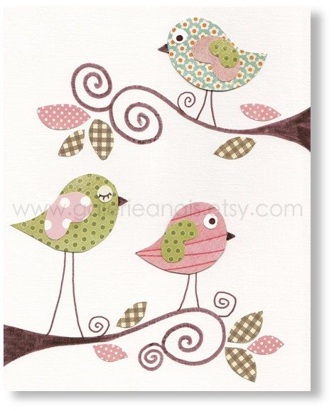 Nursery prints, baby nursery art, Baby Girl Room Nursery Decor, Birds Pink Green, Sweet Day 8x10 print, by GalerieAnais. $14.00, via Etsy.