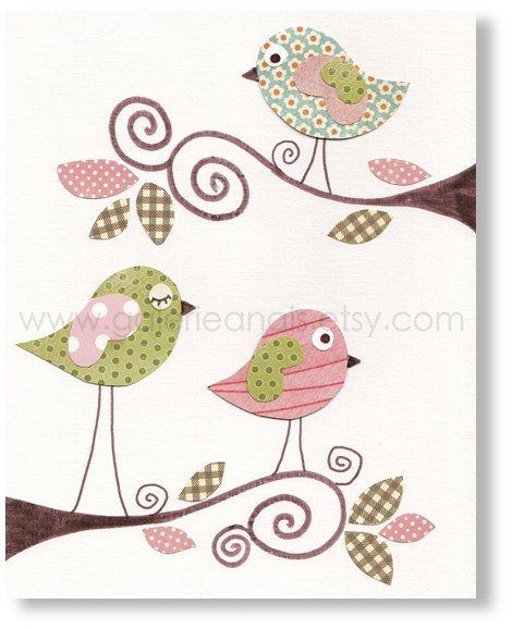 Nursery Prints Baby Art Room Decor Birds Pink Green Sweet Day Print By Galerieanais