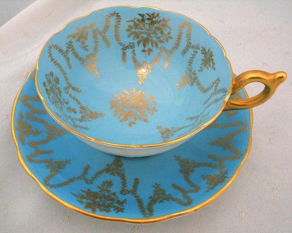 Coalport art deco gold gilt turquoise golden rose garland tea cup and saucer