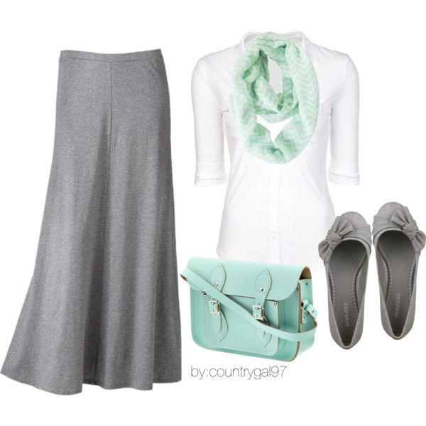 """#Modest doesn't mean frumpy. #DressingWithDignity www.ColleenHammond.com """"mint.gray.casual."""" by countrygal97 on Polyvore"""