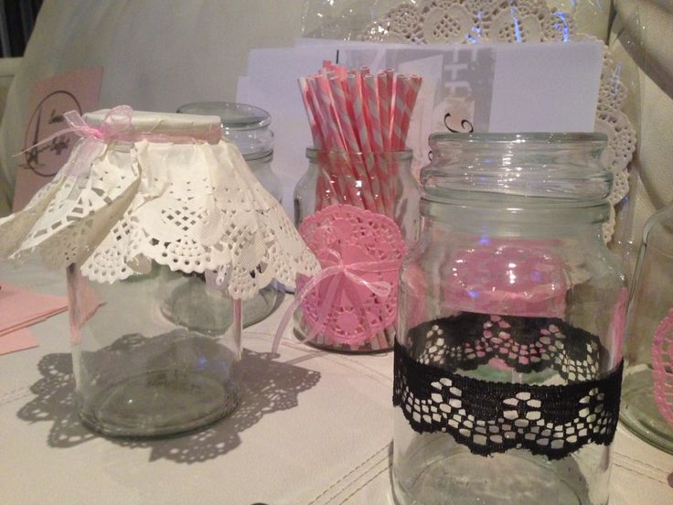 Glam up an old jar with some lace