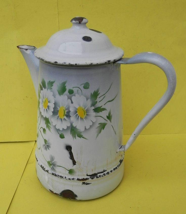CAFETIERE POT à CAFE ANCIEN EMAILLE à Décor de FLEURS (5)