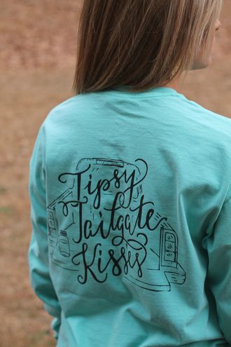 Tipsy Tailgate Kisses Long Sleeve Tee:  Chalky Mint