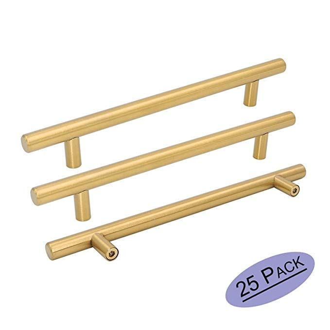 Goldenwarm 25pcs Brushed Brass Kitchen Cabinet Hardware Handle 1 2 Diameter T Bar Handles Furniture Kitchen Cabinet Hardware Kitchen Hardware Cupboard Drawers