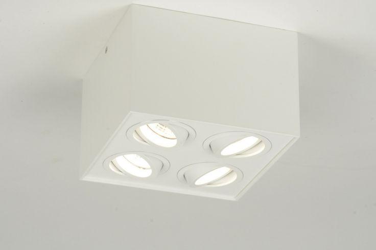 plafondlamp 30290: modern, design, geschuurd aluminium, wit