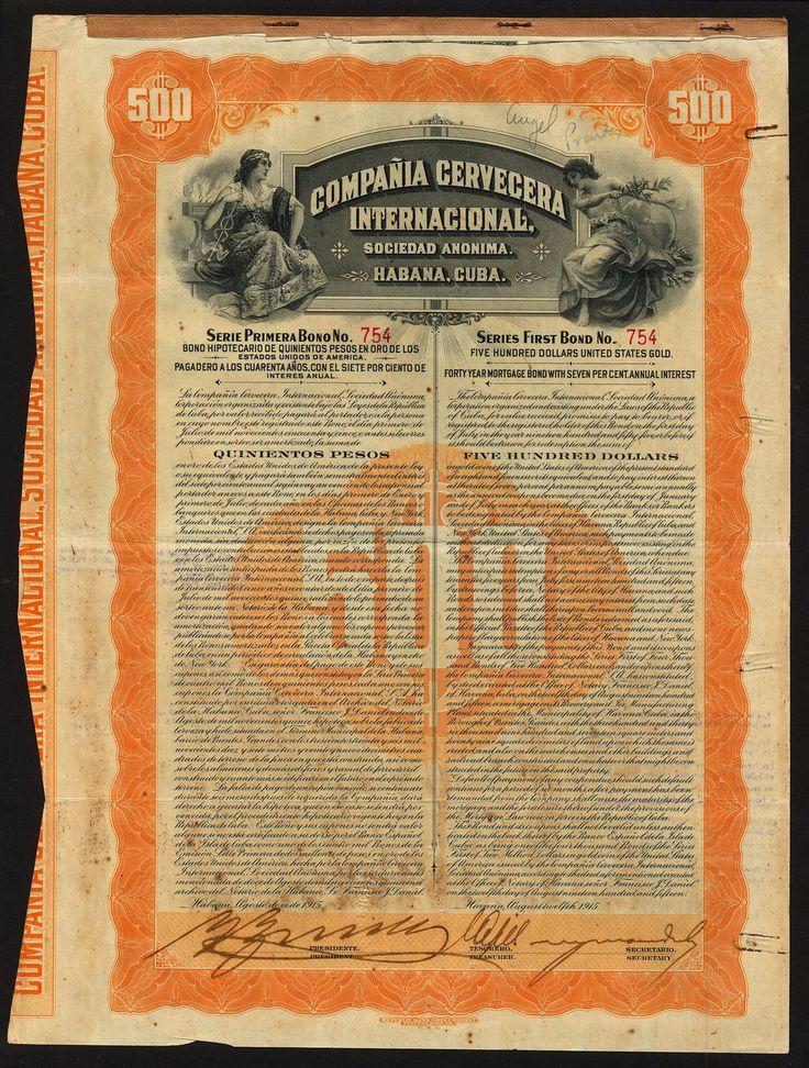 Compania Cervecera Internacional S.A 7% bond, 1915, $500