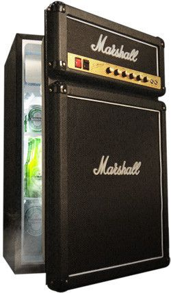 """Marshall Fridge"" featuring authentic Marshall Amp parts including logos, fret cloth, and a brass-finished faceplate. $399"