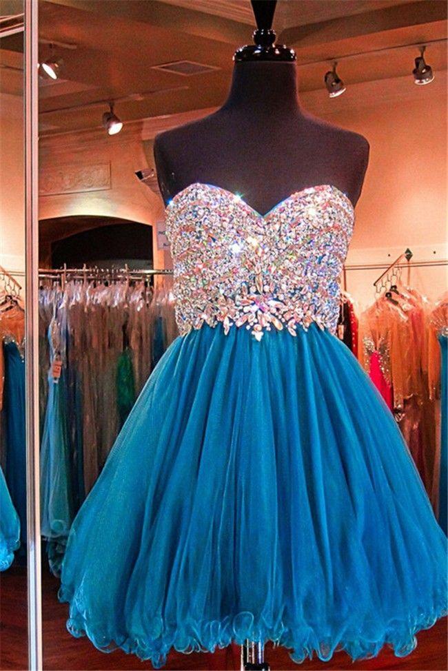 Stunning Ball Strapless Corset Short Teal Tulle Beaded Prom Dress
