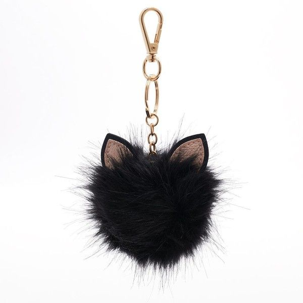 LC Lauren Conrad Cat Ear Faux Fur Pom Pom Key Chain ($9.60) ❤ liked on Polyvore featuring accessories, black, keychain, keys, random, fob key chain, pom pom key chain and lc lauren conrad