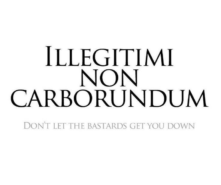 Illegitimi Non Carborundum. Don't let the bastards grind you down.