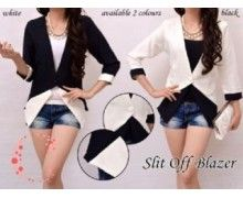jual grosir baju blazer slit off online murah warna putih hitam