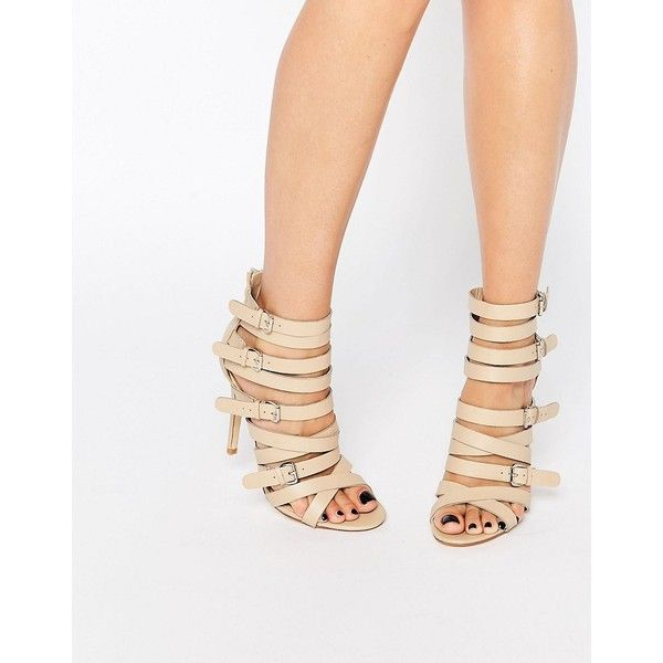 Public Desire Roslyn Buckle Strappy Heeled Sandals (165 PEN) ❤ liked on Polyvore featuring shoes, sandals, beige, strappy heel shoes, high heel shoes, beige high heel sandals, strappy high heel sandals and strap high heel sandals