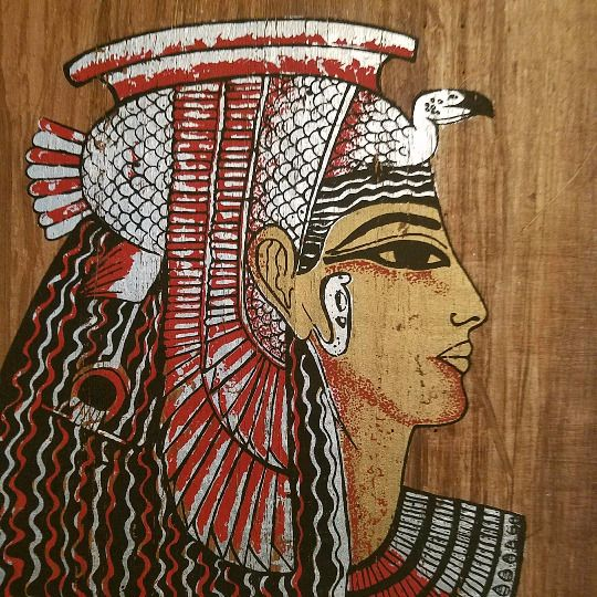 "Egyptian Original Hand Painted Papyrus 8""X 12""  Queen Cleopatra"