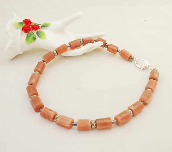 Sunstone and Hematite Necklace Peach Pink by evecollection on Etsy, £28.00